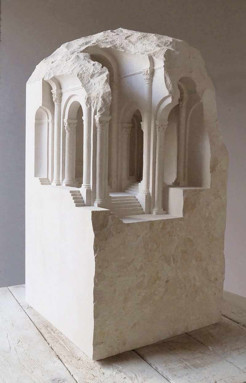 mini classical architecture carved into raw chunks of marble limestone matthew simmonds 11 Small Scale Classical Architecture Carved Into Chunks of Raw Marble and Limestone