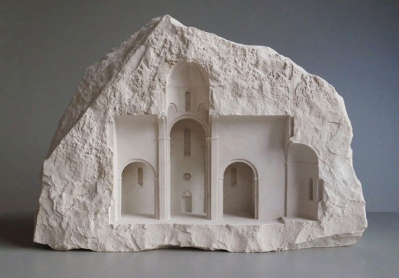 mini classical architecture carved into raw chunks of marble limestone matthew simmonds 6 Small Scale Classical Architecture Carved Into Chunks of Raw Marble and Limestone