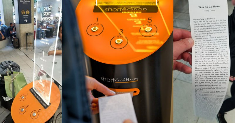 this machine prints free short stories for you to read while you wait 2 This Machine Prints Free Short Stories for You to Read While You Wait