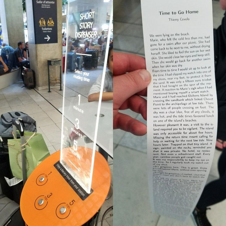 this machine prints free short stories for you to read while you wait 4 This Machine Prints Free Short Stories for You to Read While You Wait