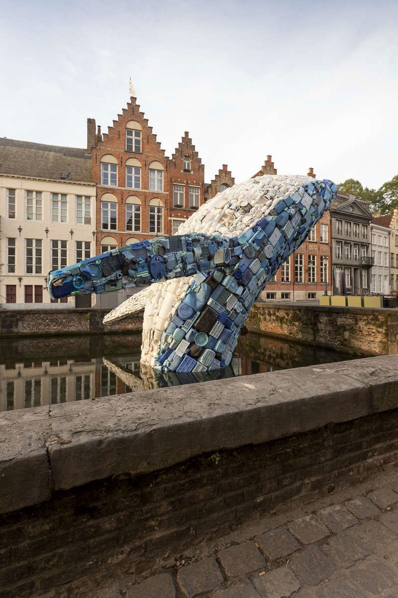 giant whale made from 10000 pounds of plastic ocean waste by studiokca bruges triennial 5 A 38 ft Tall Breaching Whale Made From 10,000 Pounds of Plastic Ocean Waste