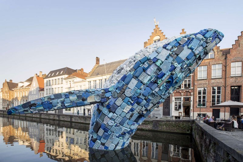 giant whale made from 10000 pounds of plastic ocean waste by studiokca bruges triennial 4 A 38 ft Tall Breaching Whale Made From 10,000 Pounds of Plastic Ocean Waste