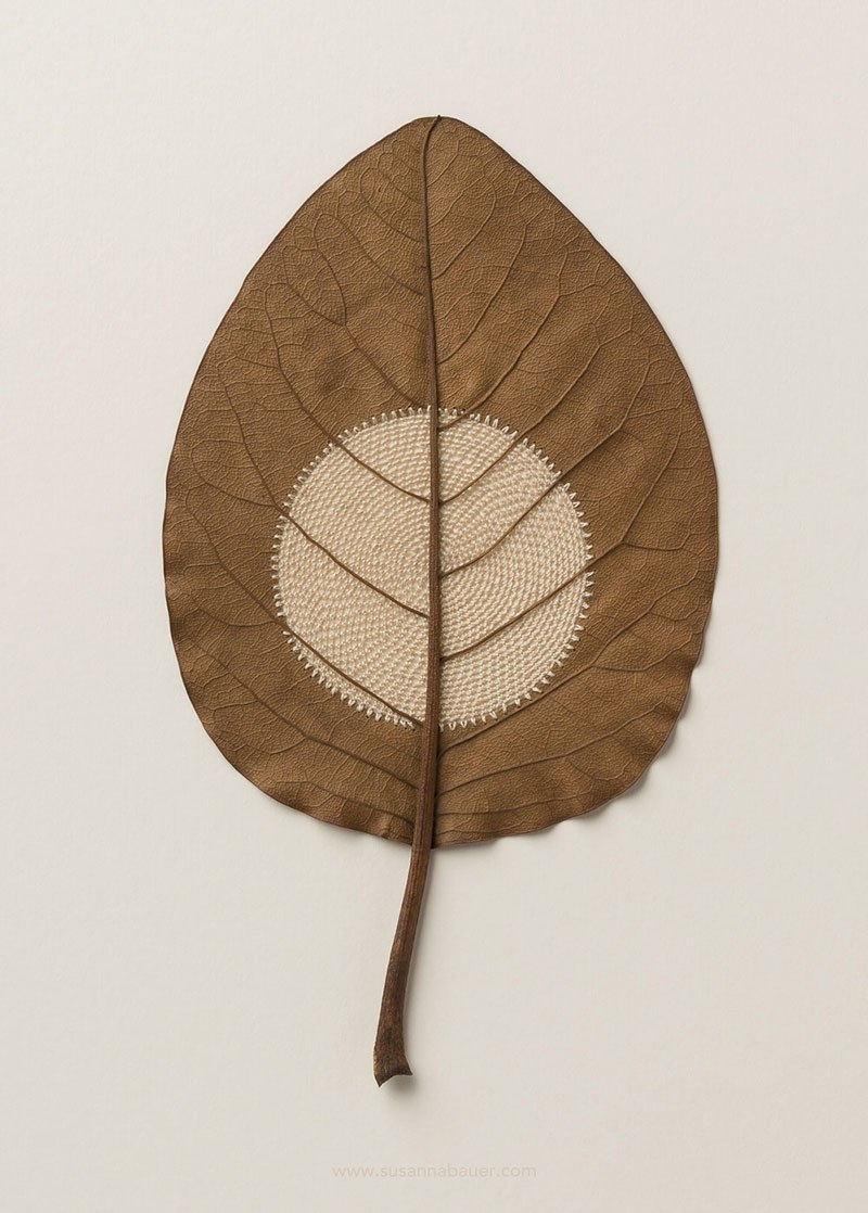crochet leaves by susanna bauer 12 Artist Crochets New Life Into Fallen Leaves