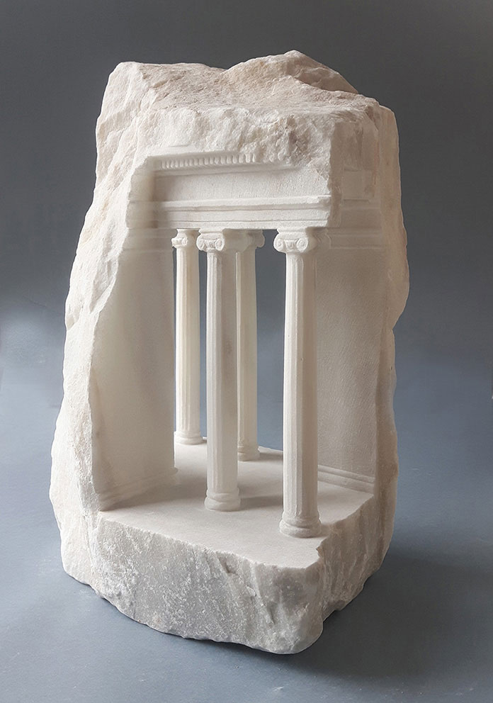 mini classical architecture carved into raw chunks of marble limestone matthew simmonds 13 Small Scale Classical Architecture Carved Into Chunks of Raw Marble and Limestone