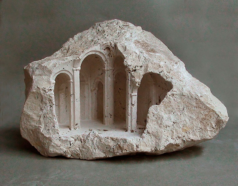 mini classical architecture carved into raw chunks of marble limestone matthew simmonds 3 Small Scale Classical Architecture Carved Into Chunks of Raw Marble and Limestone