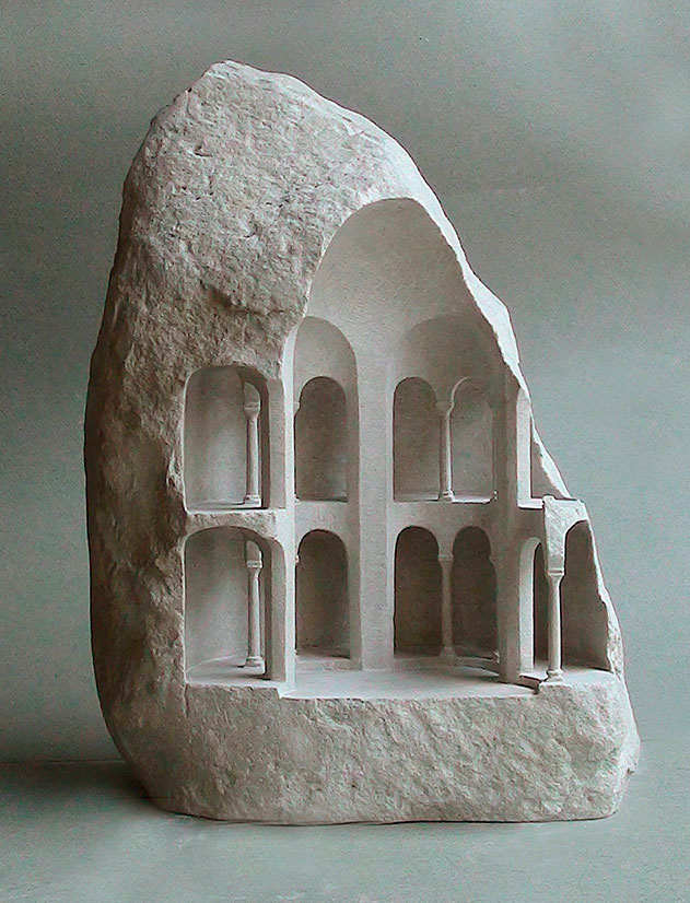mini classical architecture carved into raw chunks of marble limestone matthew simmonds 12 Small Scale Classical Architecture Carved Into Chunks of Raw Marble and Limestone