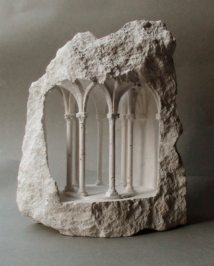 mini classical architecture carved into raw chunks of marble limestone matthew simmonds 5 Small Scale Classical Architecture Carved Into Chunks of Raw Marble and Limestone