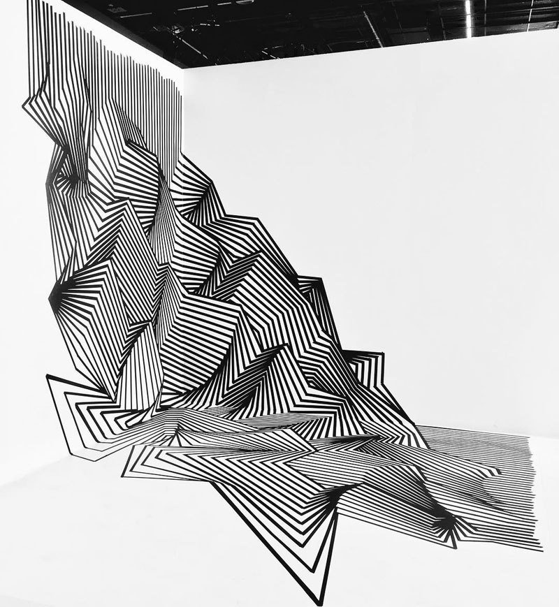 tape art installations by darel carey 7 Mesmerizing Tape Art Installations by Darel Carey