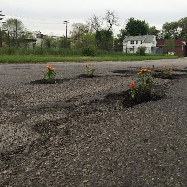 planting flowers in potholes 3 People are Planting Flowers in Potholes Because Cities Arent Fixing Them