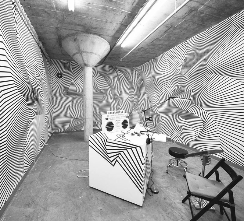 tape art installations by darel carey 5 Mesmerizing Tape Art Installations by Darel Carey