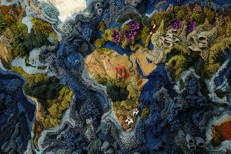 knit yarn wool tapestry of the world map by vanessa barragao 00010 Handmade from Recycled Wool, this 20 ft Long Tapestry of the World is Incredible