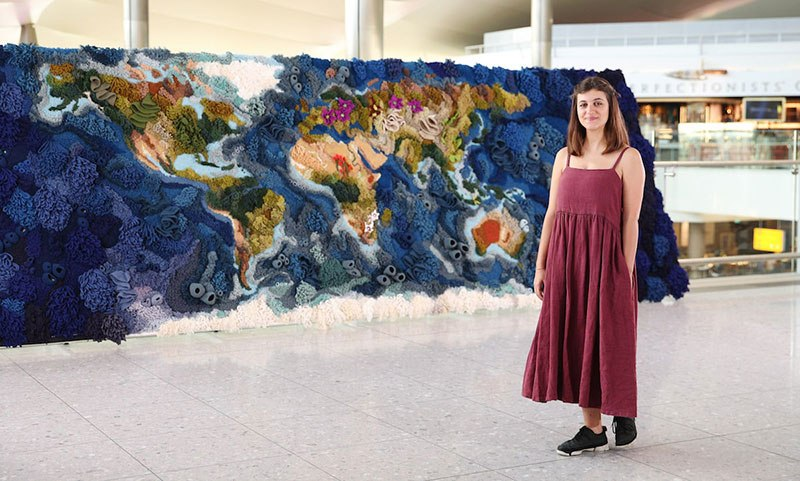 knit yarn wool tapestry of the world map by vanessa barragao 00003 Handmade from Recycled Wool, this 20 ft Long Tapestry of the World is Incredible
