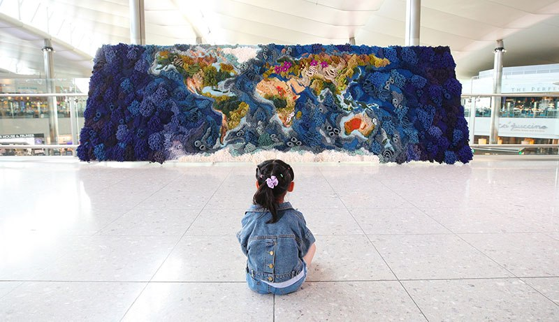 knit yarn wool tapestry of the world map by vanessa barragao 00011 Handmade from Recycled Wool, this 20 ft Long Tapestry of the World is Incredible