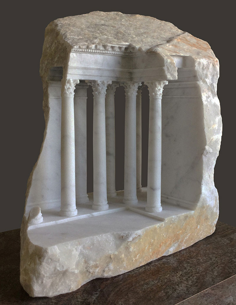 mini classical architecture carved into raw chunks of marble limestone matthew simmonds 10 Small Scale Classical Architecture Carved Into Chunks of Raw Marble and Limestone