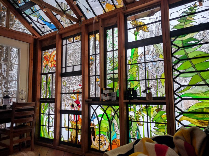 stained glass cabin by neile cooper 2 A Stained Glass Cabin in the Woods
