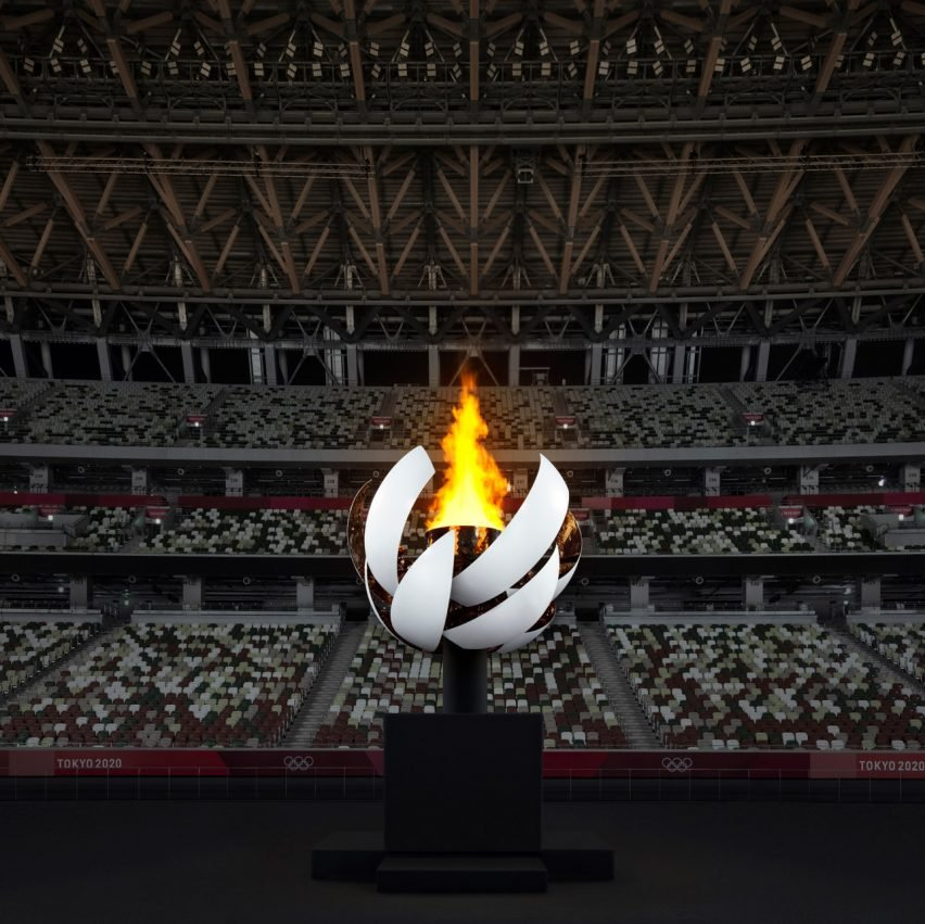Spherical Olympic cauldron with hydrogen-powered flame by Nendo