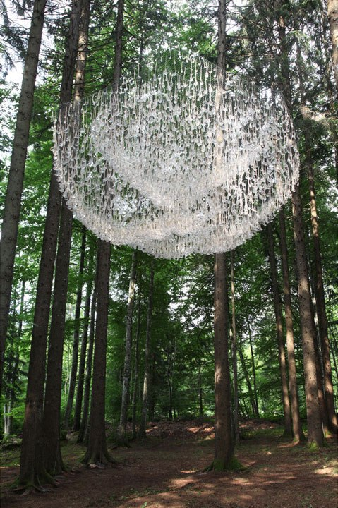 a giant chandelier in the forest made from tiny rainwater catchers 11 A Giant Chandelier in the Forest Made From Tiny Rainwater Catchers
