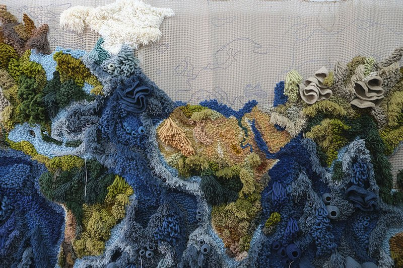 knit yarn wool tapestry of the world map by vanessa barragao 00009 Handmade from Recycled Wool, this 20 ft Long Tapestry of the World is Incredible